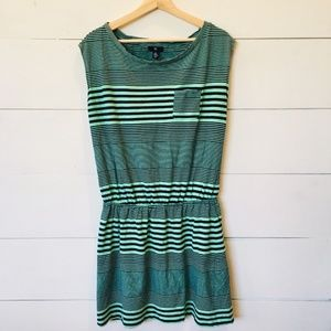 GAP Mint & Navy Striped Cotton Dress MEDIUM EUC